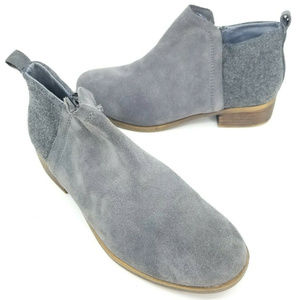 Toms Womens Deia Dark Grey Leather Wool Zip Up